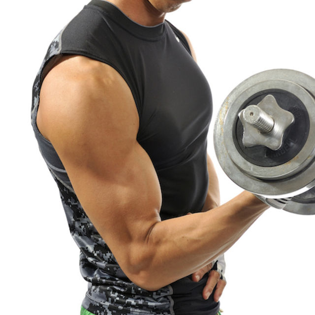 Muscle training with dumbbells